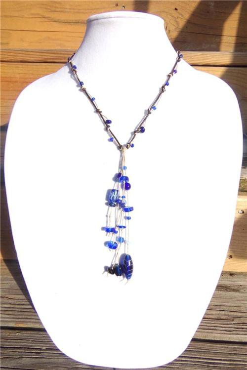 Knotted Leather Necklace Glass Beads Ocean Blue Beach Beads 527