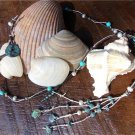 Leather and Pearl Necklace with Turquoise and Green Patina Sea Charms N602 ~~