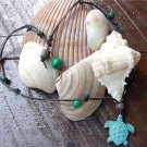 Green Patina Sea Turtle Necklace on Knotted Leather with Glass Beads N606~~