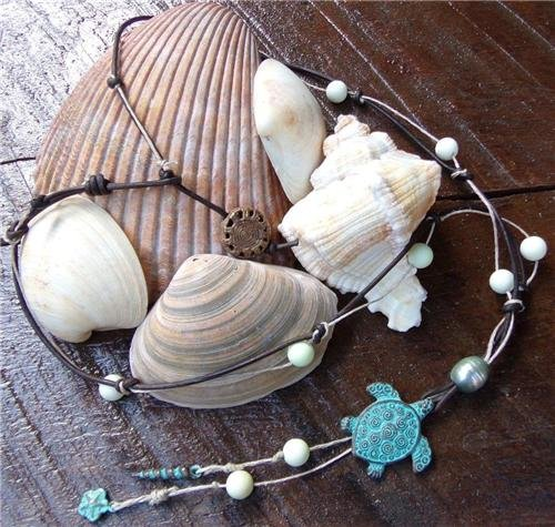 Green Patina Sea Turtle Necklace on Knotted Leather Shell Charms Beachy N609~
