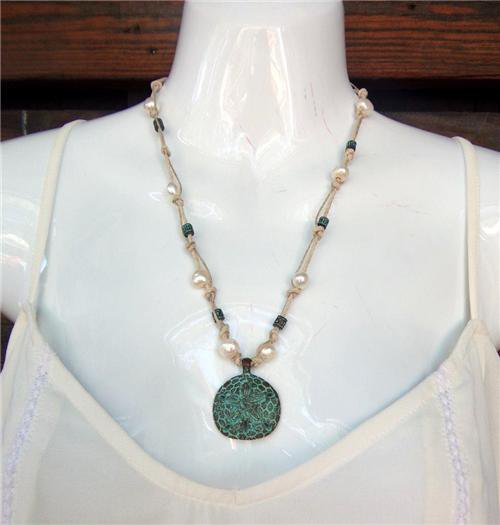 Sand Dollar Necklace on Knotted Hemp Freshwater Pearls Green Patina N613 ~~~~~