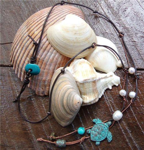 Sea Turtle Necklace on Knotted Leather Freshwater Pearls Turquoise Bead N614 ~~~~~
