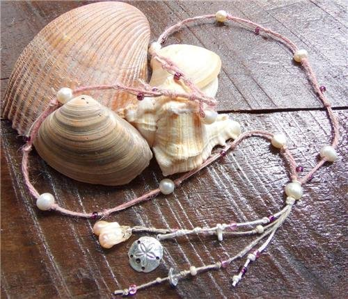 Pearl and Pink Hemp Necklace With Freshwater Pearls and a Pearl Cluster N619 ~~~~
