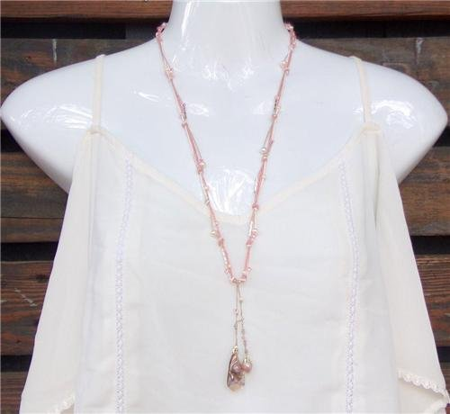 Pearl and Pink Hemp Necklace With Freshwater Pearls and a Pearl Cluster N620 ~~~~