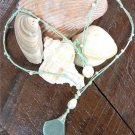 Sea Glass Shell Necklace Big Hole Pearl and Glass Beads Mint Green N621 ~