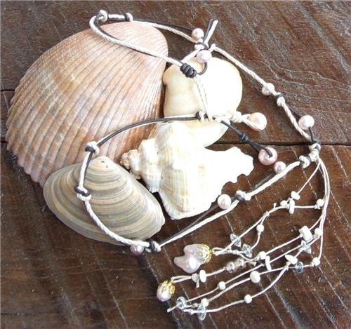 Pearl and Leather Necklace  Pearl Cluster On 14K GP Cap Glass Beads Beach N629 ~~