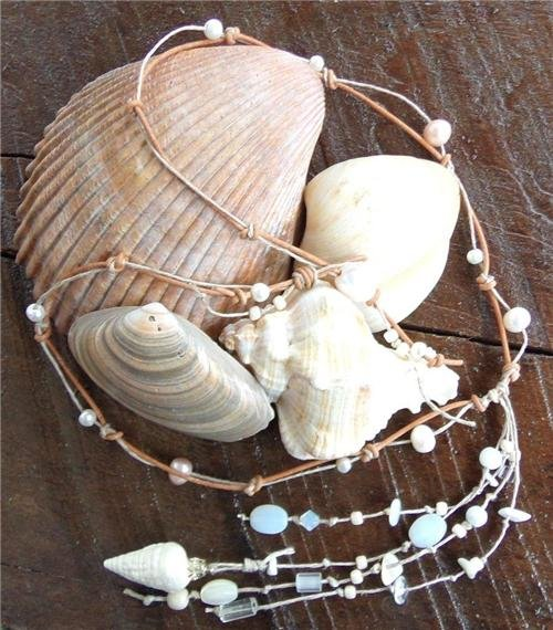 Pearl and Leather Necklace Hand Painted Shell On 14K GP Cap Beach N630 ~~~