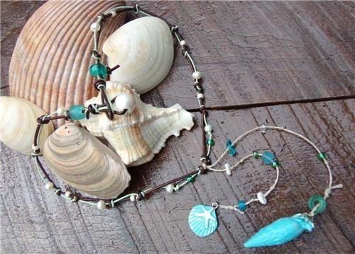 Pearl and Leather Necklace Hand Painted Shells Glass Beads Beach N636 ~