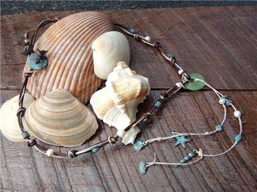 Pearl and Leather Necklace Sea Glass Green Patina Sea Shells Beach N637 ~~