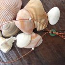 Glass Sand Dollar and Large Hole Pearls and Leather Necklace Boho Chic N140 ~