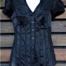 Womens Small Blouse Bebe Small Shirt Black Button Up Top Perfect Condition ~~~~