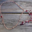 Knotted Leather Necklace Glass Beads Silver Plated Pearl Charm Red Boho 524 ~~~
