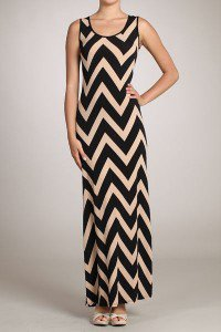Womens Large Dress * NEW*  Brown Maxi Chevron Dress Gilligans Boutique SOF USA