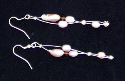 Gilligan's Seaside Pearl and Swarovski Crystals Earrings Made in USA Unique ~~~~
