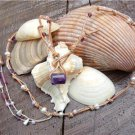 Pearl and Leather Necklace Baby Pearls and Glass Beads Beach N631 ~