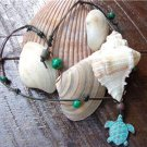 Green Patina Sea Turtle Necklace on Knotted Leather with Glass Beads N606~