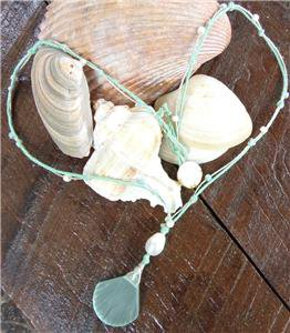 Sea Glass Shell Necklace Big Hole Pearl and Glass Beads Mint Green N621 ~~~~