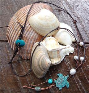 Sea Turtle Necklace on Knotted Leather Freshwater Pearls Turquoise Bead N614 ~