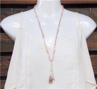 Pearl and Pink Hemp Rope With Freshwater Pearls and a Pearl Cluster N620 ~~~~