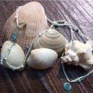 Green Patina Sea Shell Necklace Green Patina Charms Hemp Rope Glass Beads N604 ~