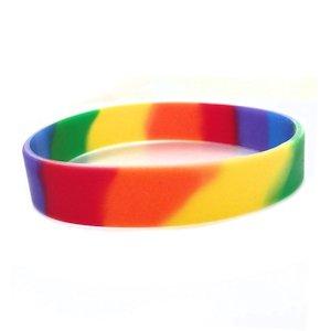 Gay Pride Silicone Bracelet Double Rainbow