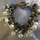 Chunky Bridal Faux Pearls and Beads Metal Bracelet Toggle Clasp