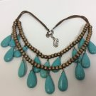 Brass Beads and Tear Drop Turquoise on Adjustable Leather Necklace