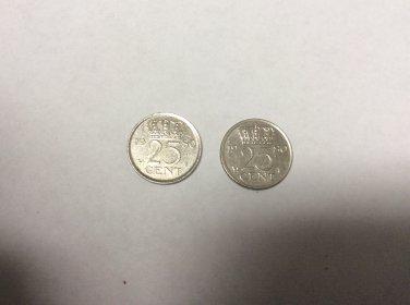 Queen Juliana Netherlands 25 cent coin, 1980 ( 2-coins )