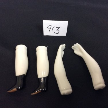 Porcelain China Parian Doll Replacement Arms & Legs, Very Small