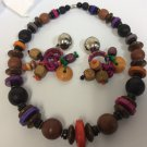 Rainbow Wood & Metal Beaded Silver Tone Clip On Earrings & Necklace Set, VTG