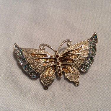 Butterfly Blue Glitter and Brown Enamel Silver Tone Brooch Pin