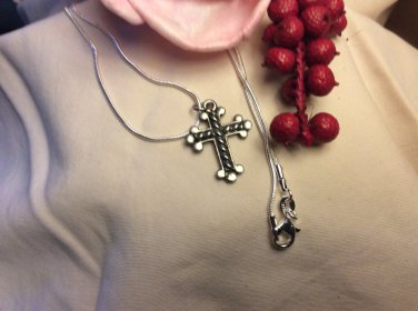 Sterling Silver Chain Religious Cross Twisted Rope Center Pendant Necklace