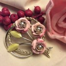 Circular Gold Tone Three Enamel Metal Roses with Faux Pearls Pin Brooch, Vtg