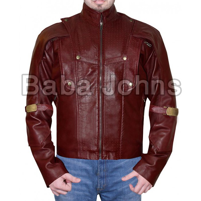Guardians of the Galaxy Chris Pratt Red 100% Real Leather Jacket