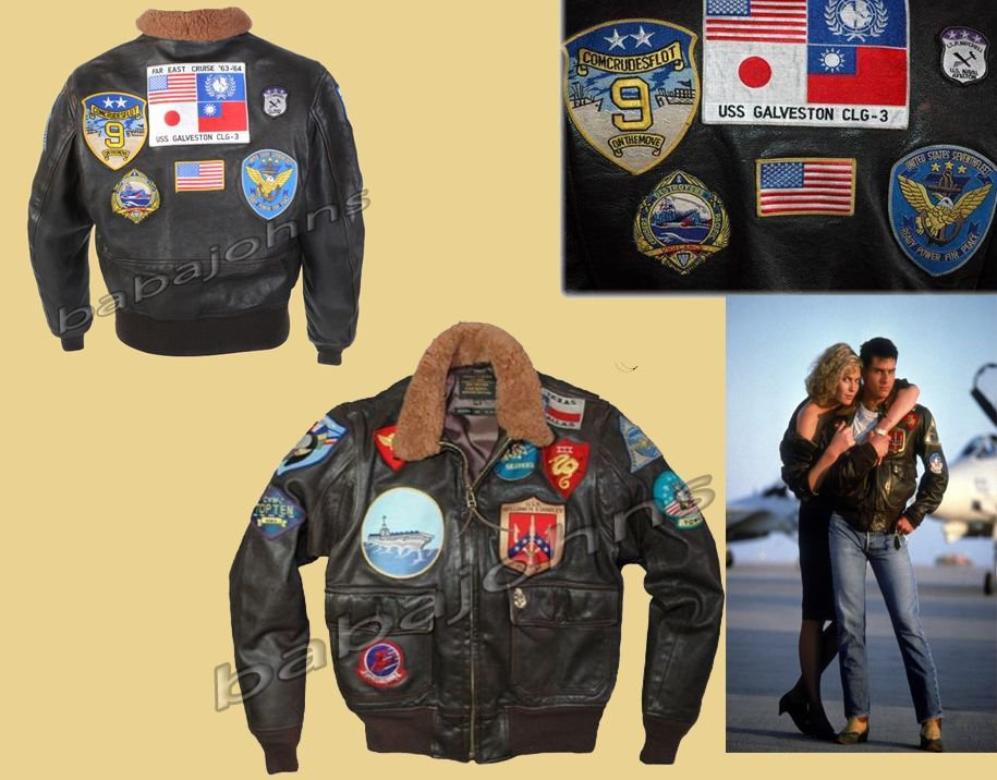 'TOP GUN BROWN' Men's A2 Jet Fighter Bomber Navy Air Force Pilot Leather Jacket
