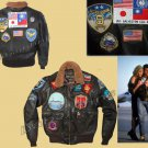 'TOP GUN BROWN' Men's A2 Jet Fighter Bomber Navy Air Force Pilot Leather Jacket