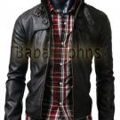 Mens Biker Button Pocket Slim Fit Rider Motorcycle Genuine Leather Jacket