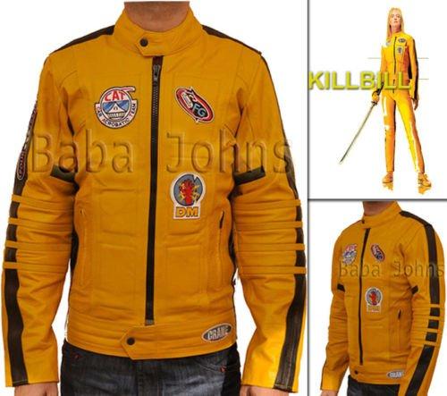 Kill Bill Men's Women's Uma Yellow Bride Motorcycle Biker Unisex Leather Jacket