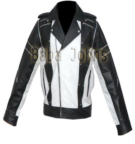 Michael Jackson MJ Pepsi Commercial Ad Black White Vintage Men's Leather Jacket