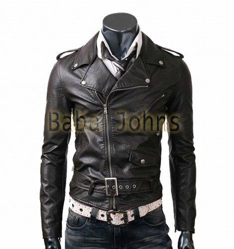 Belted Biker Slim Fit Genuine / Faux Black / Brown Urban Outfit Leather Jacket