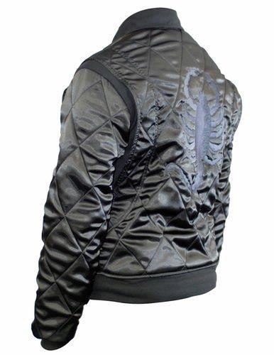Slim Fit Drive Gosling Biker Style Trucker Jacket w/ Finely Embroidered Scorpion