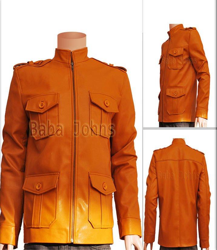 Clark Chester Vintage Slim fit Men's Leather Jacket Military Coat Camel Brown