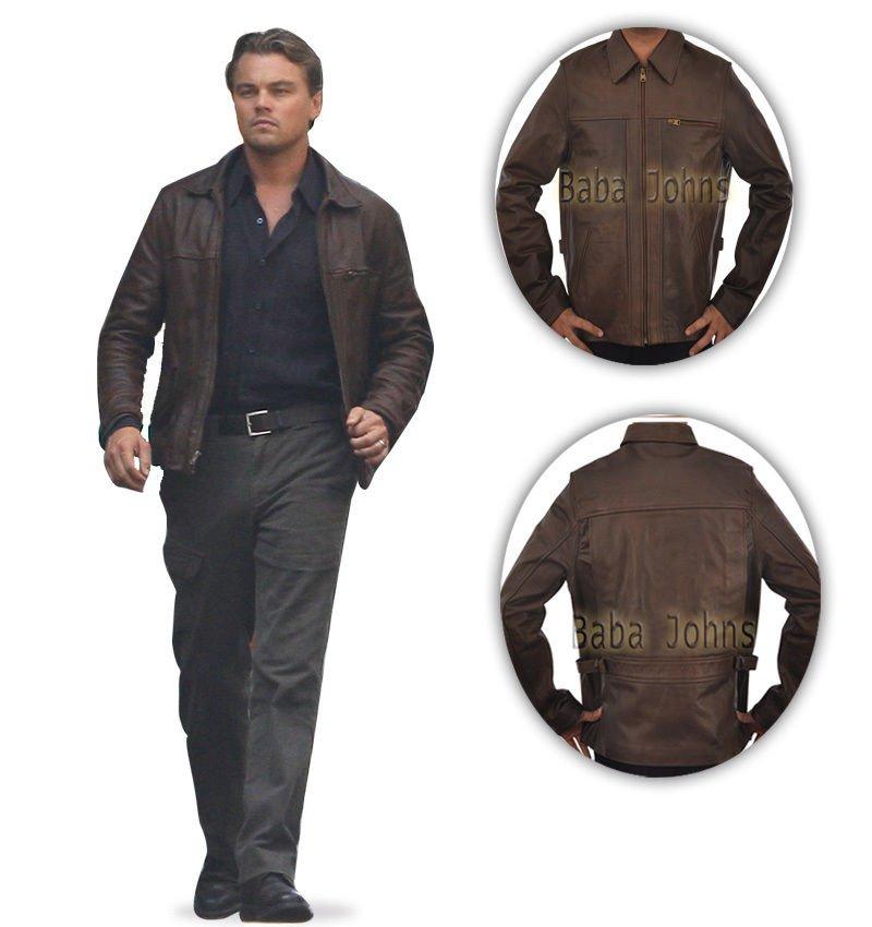 Inception Cobb Arthur Leonardo Vintage Brown Men's Fine Leather Jacket