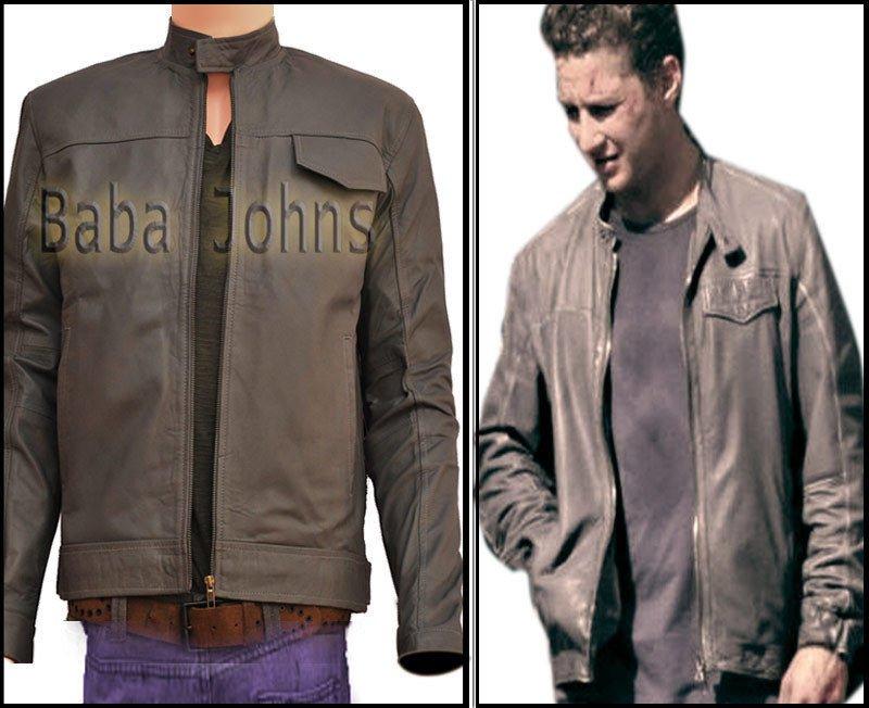 Transformers 3 Shia Labeouf Grey / Black Slim Fit Bomber Style Leather Jacket