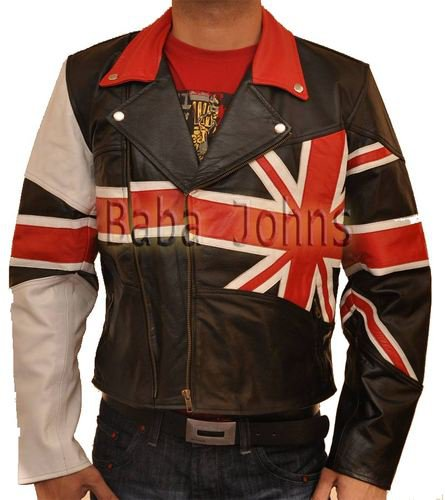 British UK Flag Vintage Brando Slim Fit Motorcycle Rider Men�s Leather Jacket