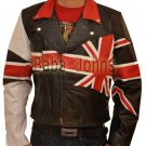 British UK Flag Vintage Brando Slim Fit Motorcycle Rider Men's Leather Jacket