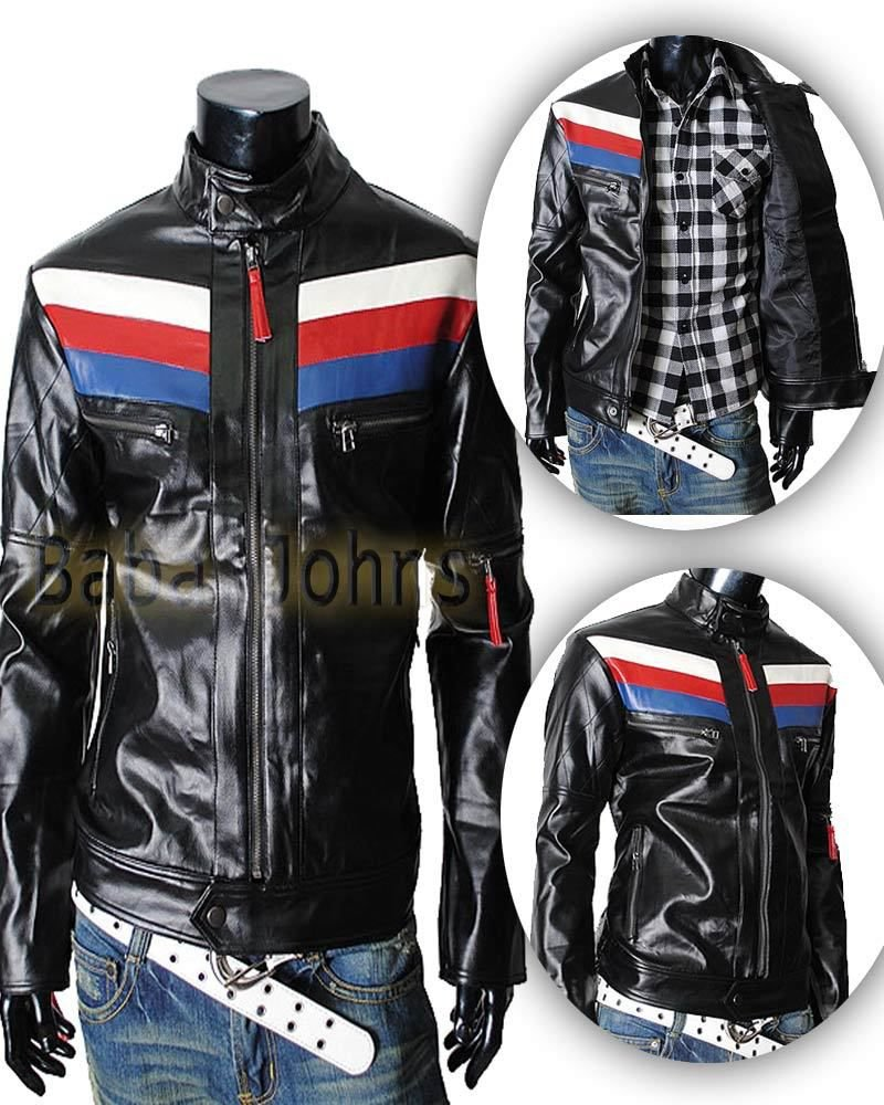 Men's Rider Casual Slim Fit Biker Motorcycle Fashionable Faux Leather Jacket