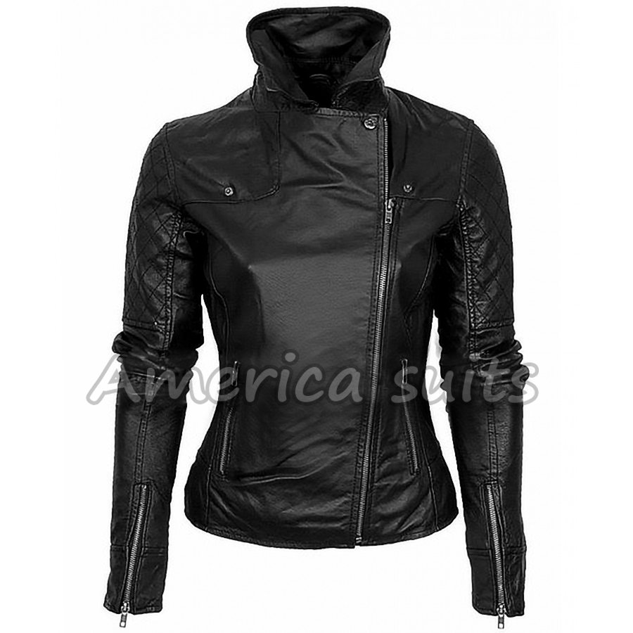 Women's Black Leather Asymmetric Biker Jacket