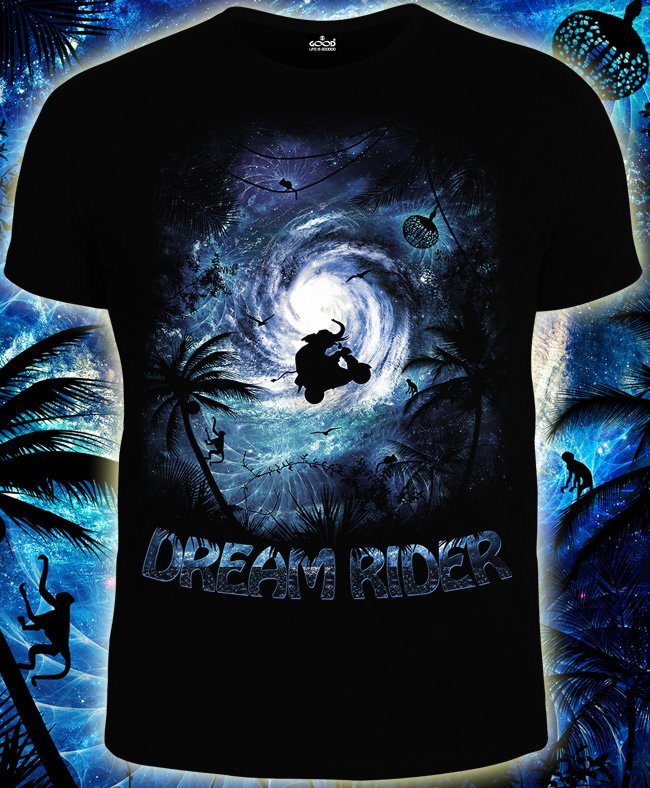 Dream Rider - T-shirt for rave people wear abstraction clothes elephant flight psytrance