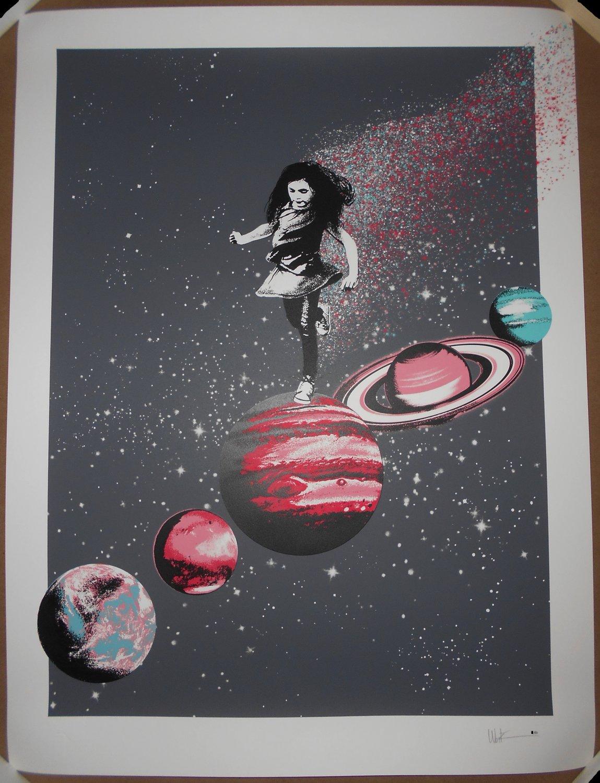 Ubik Hopscotch Screen Print Signed #/80 Poster Planets Space Child BNG Regular